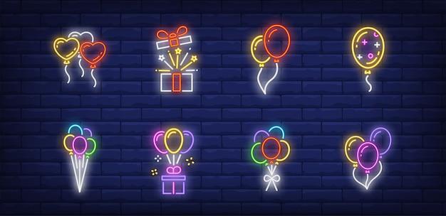 Balloons symbols set in neon style