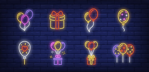 Balloons symbols set in neon style