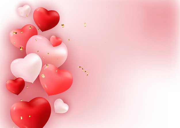 Balloons with hearts on white illustration