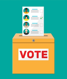 Ящик для голосования и документ с кандидатами. рука с законопроектом о выборах. бумага для голосования с лицами.