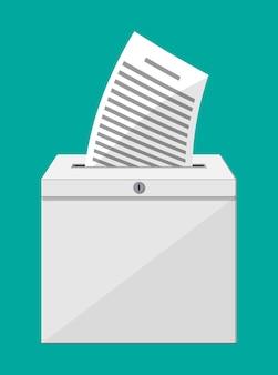 Избирательная урна. контейнер с замком, полный документов. дело для голосования по выборам предложений. ящик для чаевых и пожертвований. векторная иллюстрация в плоском стиле