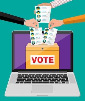 Урна для голосования, документ с кандидатами на экране ноутбука. рука с законопроектом о выборах. бумага для голосования с лицами. векторная иллюстрация в плоском стиле
