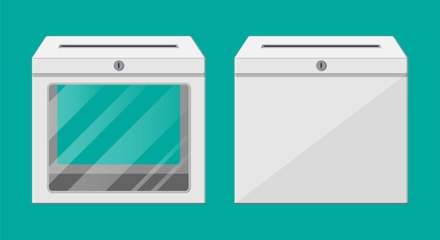 Ballot box. empty container with glass window and lock. voting case for suggestions elections. box for tips and donations. vector illustration in flat style
