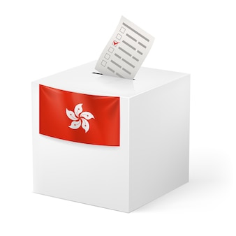 Ballot box with voicing paper illustration