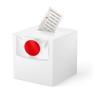 Ballot box with voicing paper. japan.