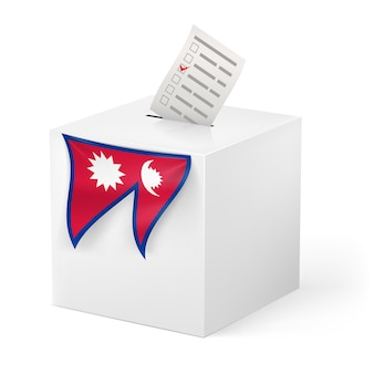 Ballot box with voicing paper. nepal