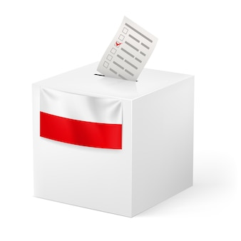 Ballot box with voicing paper. poland.