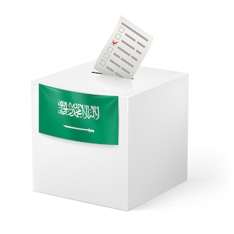 Ballot box with voicing paper. saudi arabia.