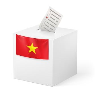 Ballot box with voicing paper. vietnam.
