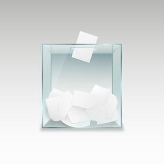 Ящик для голосования с бланками для голосования. прозрачный стеклянный контейнер с кусками бумаги политического референдума