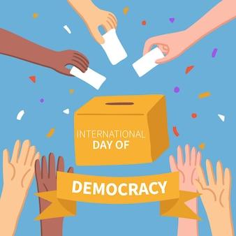 투표 용지 및 다민족 개념 민주주의의 날