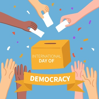 Ballot paper and multiracial concept day of democracy
