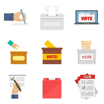 Ballot voting box vote icons set