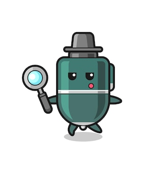 Ballpoint pen cartoon character searching with a magnifying glass , cute design