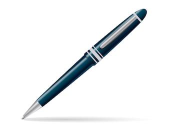 Ballpoint pen diagoal isolated on white. vector illustration