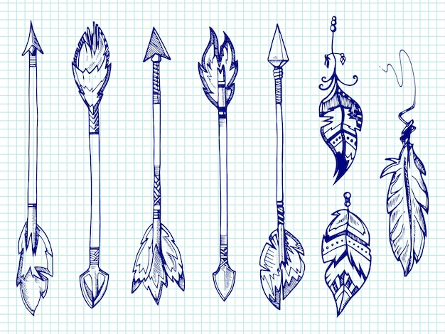 Ballpoint pen feathers and arrows set on notebook page