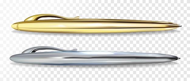 Шариковая ручка golen и серебряная векторная иллюстрация