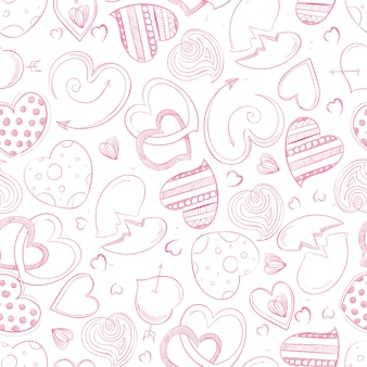 Ballpoint pen hand drawing hearts seamless pattern