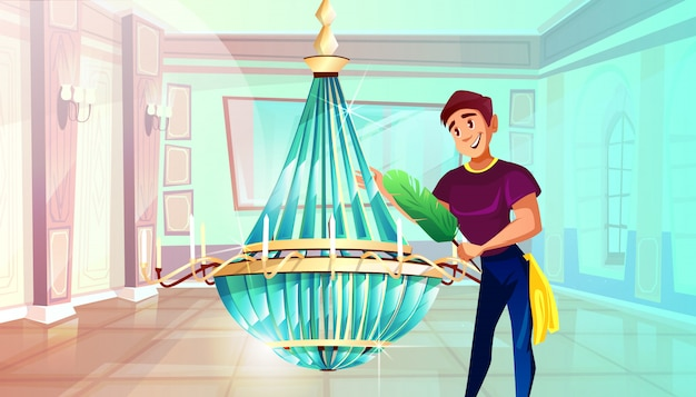 Ballroom cleaning illustration of man dusting big crystal chandelier with feather duster.