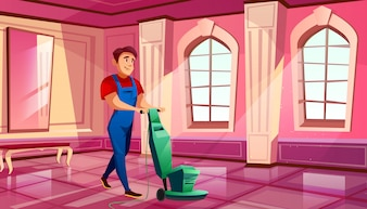 Ballroom cleaning illustration of man polishing parquet tile floor in royal hall of medieval