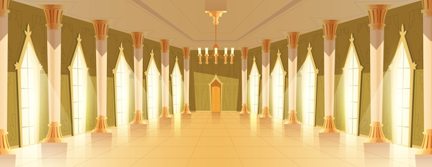 Ballroom hall with chandelier vector illustration