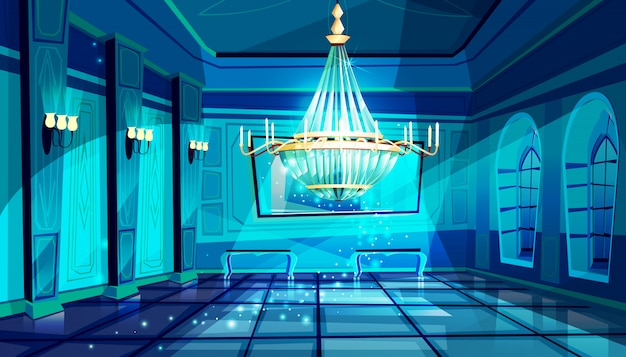 Ballroom in night illustration of palace hall with crystal chandelier and midnight magic moon