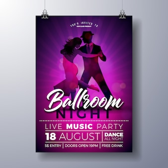 Ballroom night party flyer illustration with couple dancing tango on purple background.