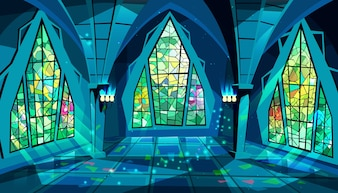 Ballroom or palace illustration of royal gothic hall at night with stained glass windows