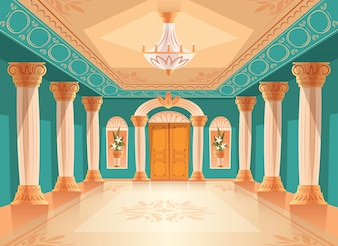 Ballroom or palace reception hall illustration of luxury museum or chamber room.