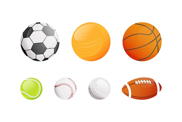 Balls for different sport flat color objects set