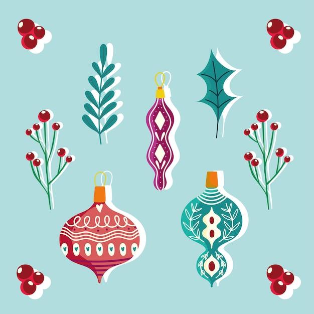 Balls and foliage nature christmas celebration and decoration