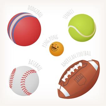 Мячи для популярных видов спорта с именами