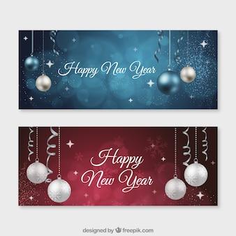 Palline di felice anno nuovo banner