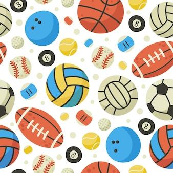 ボールのシームレスなパターン。バスケットボール、サッカー、サッカー、テニスボールの背景。スポーツゲームボール機器漫画ベクトルパターンイラスト