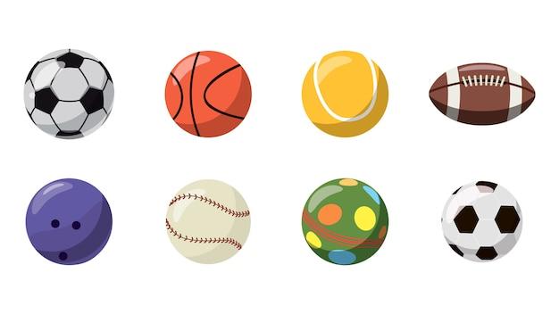 Мячи установлены. мультяшный набор шаров