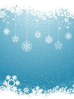 Balls silhouette on a blue snowflakes background