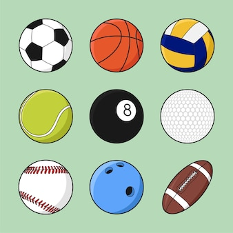 Balls for sports set flat cartoon hand drawn vector isolated
