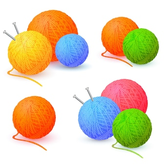 Balls of yarn threads bundles of wool for knitting skeins of wool and knitting needles
