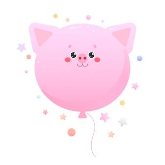 Baloon cute kawaii pig, piglet. animal isolated