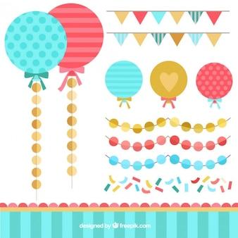 Плоский гирлянда и коллекция baloon