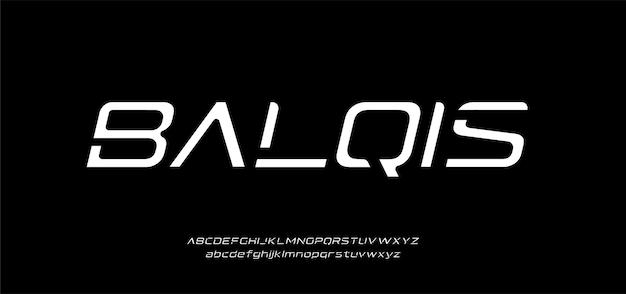 「balqis」モダンな最小限の抽象的なアルファベットフォント。タイポグラフィ技術、電子、映画、デジタル、音楽、未来、ロゴクリエイティブフォント。