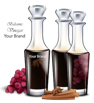 バルサミコ酢。現実的な詳細なイラスト