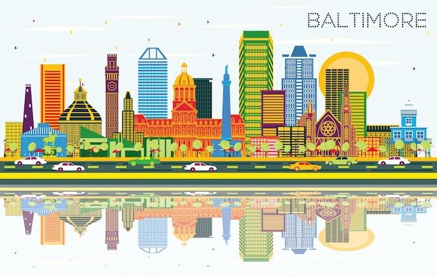 색상 건물, 푸른 하늘 및 반사 볼티모어 메릴랜드 도시 스카이 라인. 벡터 일러스트 레이 션. 현대 건축과 비즈니스 여행 및 관광 개념입니다. 랜드마크가 있는 볼티모어 도시 풍경.