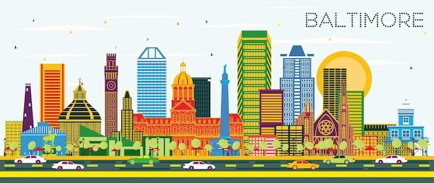 푸른 하늘에 색 건물 볼티모어 메릴랜드 도시 스카이 라인. 벡터 일러스트 레이 션. 현대 건축과 비즈니스 여행 및 관광 개념입니다. 랜드마크가 있는 볼티모어 도시 풍경.