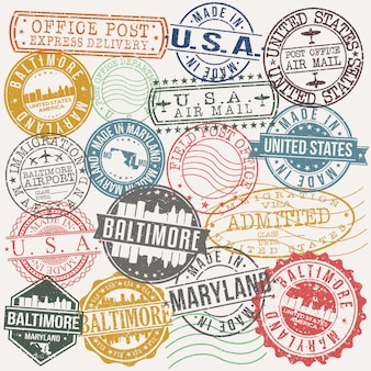 Baltimore maryland set of travel and business stamps