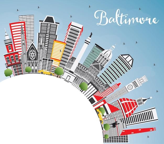 회색 건물, 푸른 하늘 및 복사 공간이 있는 볼티모어 메릴랜드 미국 도시 스카이라인. 벡터 일러스트 레이 션. 현대 건축과 비즈니스 여행 및 관광 개념입니다. 랜드마크가 있는 볼티모어 도시 풍경.