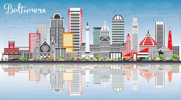 회색 건물, 푸른 하늘, 반사와 볼티모어 스카이 라인.