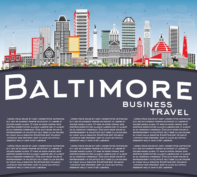 Baltimore skyline with gray buildings, blue sky and copy space. vector illustration. business travel and tourism concept with modern architecture. image for presentation banner placard and web site.