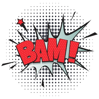 Bam comic speech bubble in pop art style