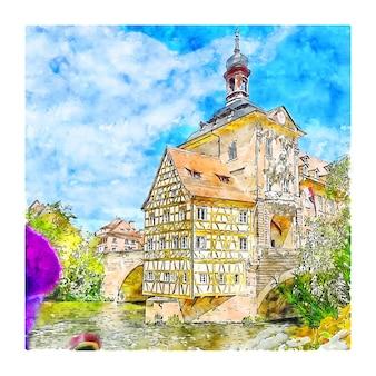 밤베르크 독일 수채화 스케치 손으로 그린 그림